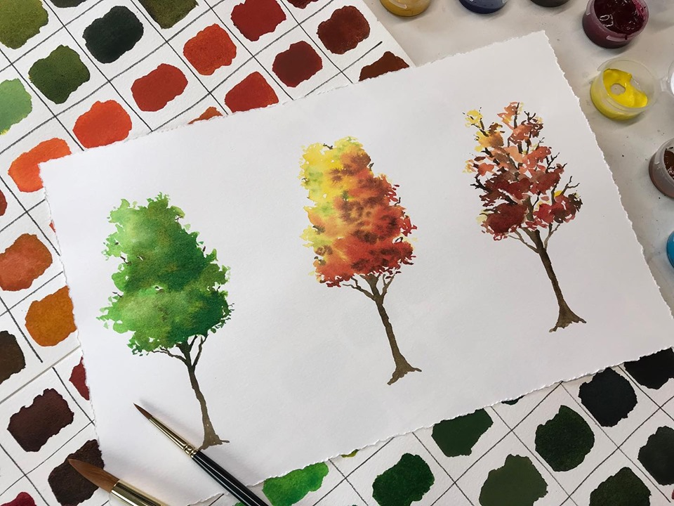 Trees painted in watercolor