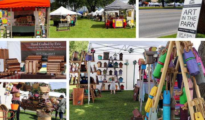 Collage of photos from 2019 summer Art in the Park.