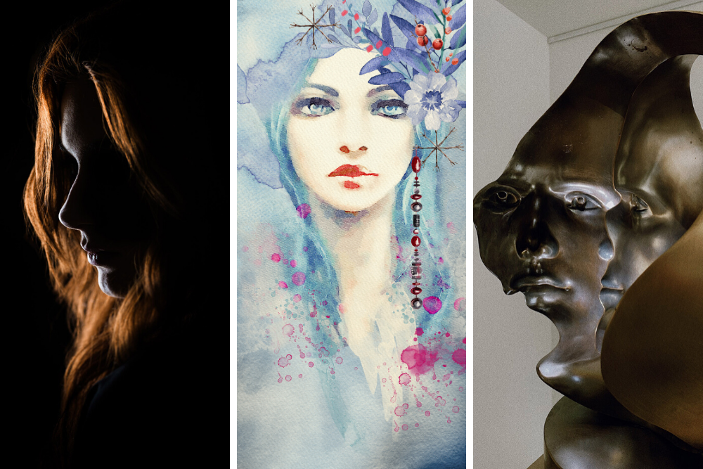 Collage of different portrait images - photo, watercolor, sculpture